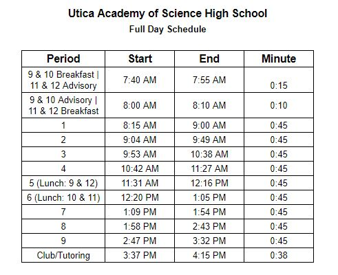 Utica Academy of Science High School Bell Schedule 2019 - 2020