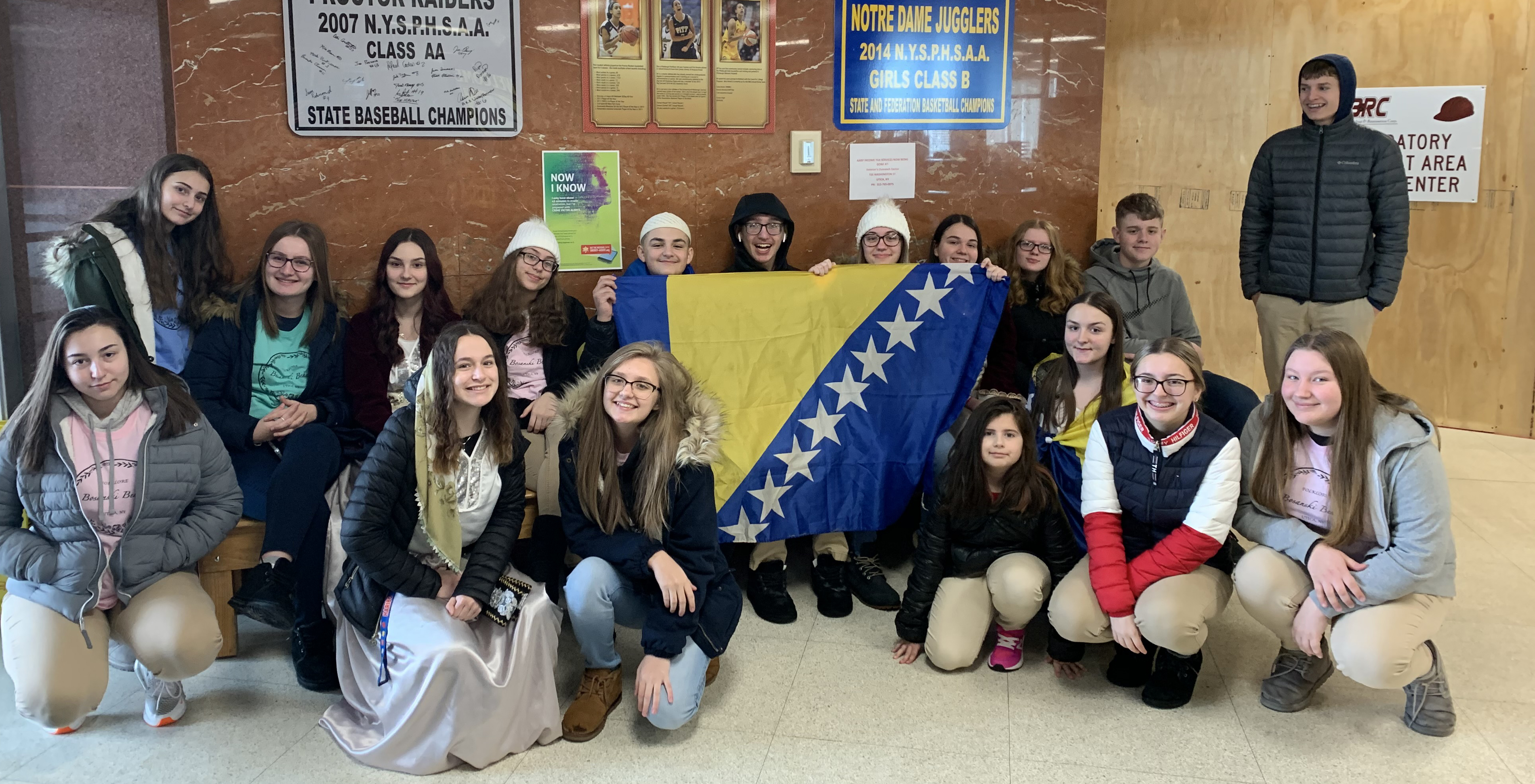 Bosnian Utica Academy of Science Students Attend Flag Raising Ceremony