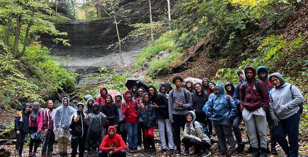 High School Atoms explore Tinker Falls for a hands-on Earth Science field trip