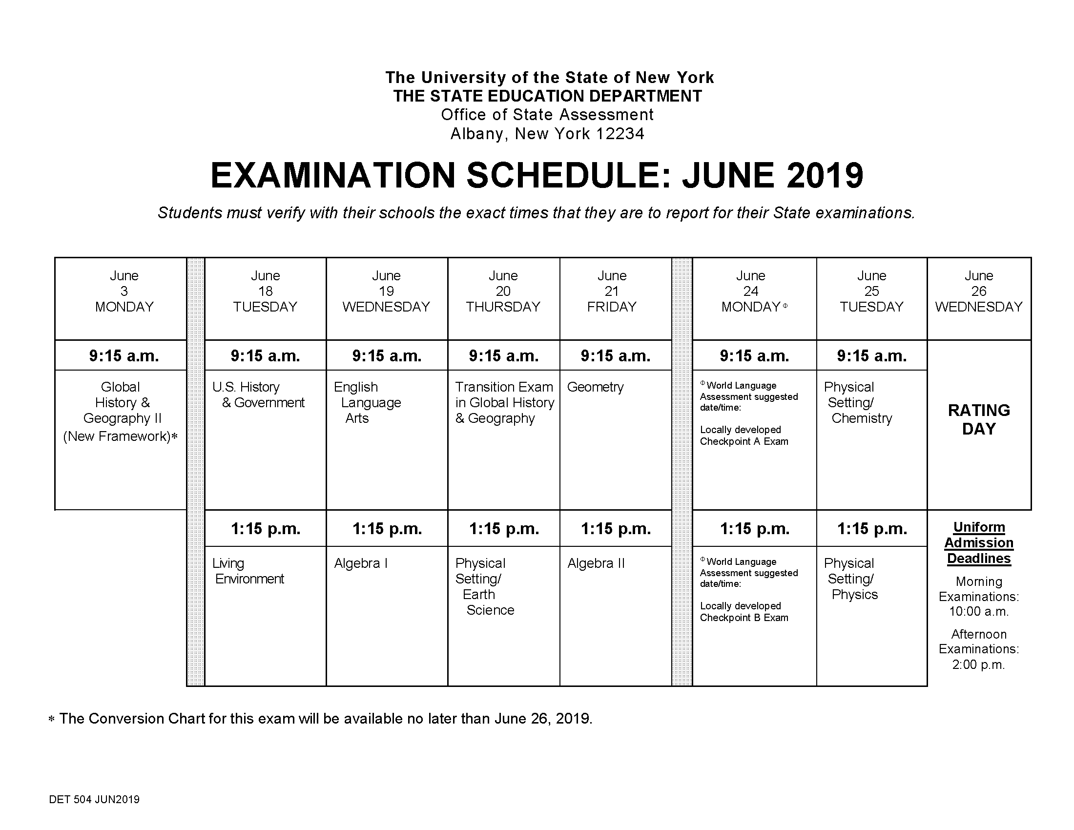 Regents exam schedule for June 2019